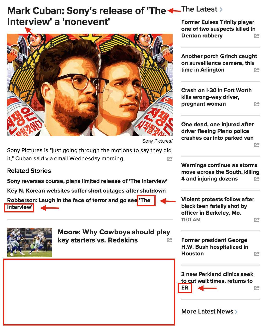 Examples of bad headline breaks on a homepage