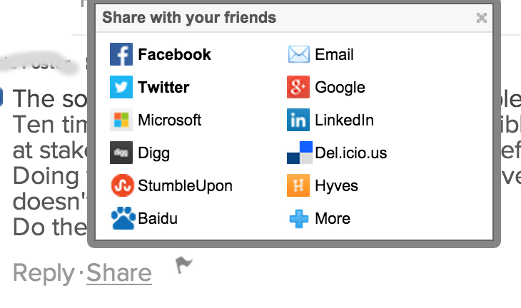 social sharing options