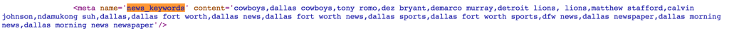 Cowboys game Google news keywords