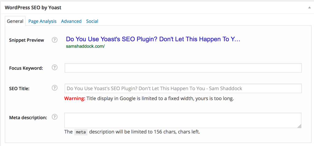 Yoast SEO plugin screen shot