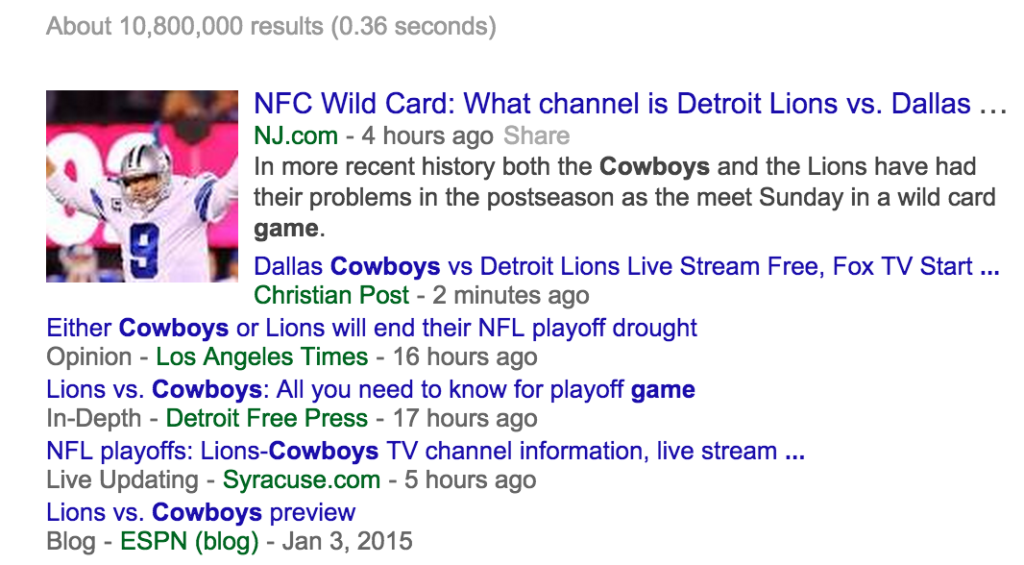Cowboys game search engine results